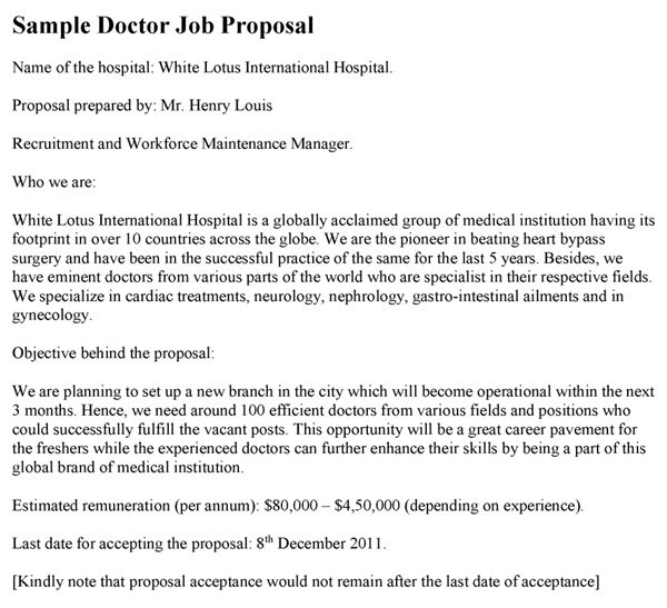 Doctor Job Proposal Template