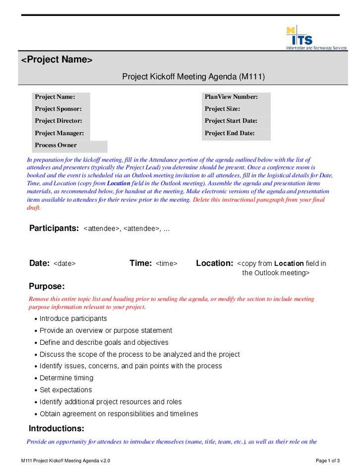 kickoff presentation template project kickoff meeting agenda ...