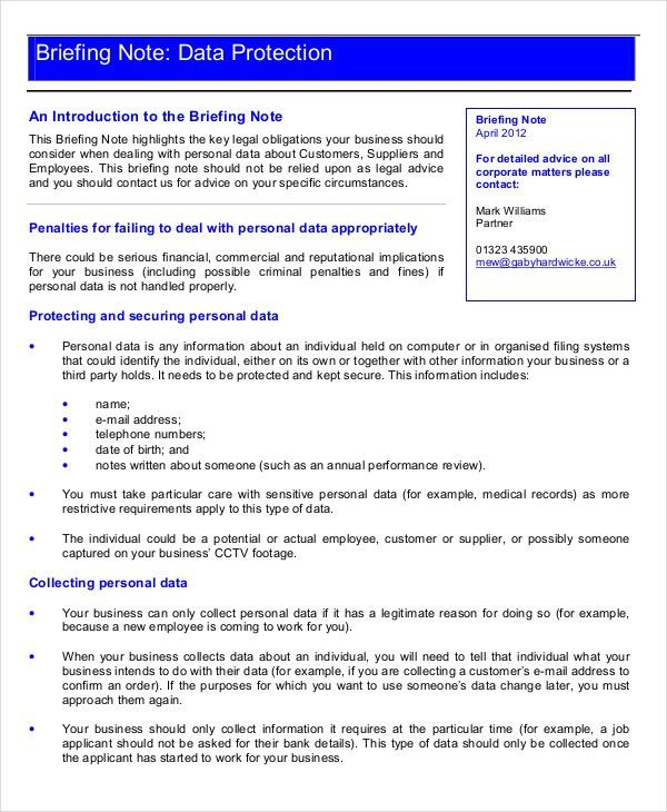Briefing Note Template - 9 Free Word Documents Download | Free ...