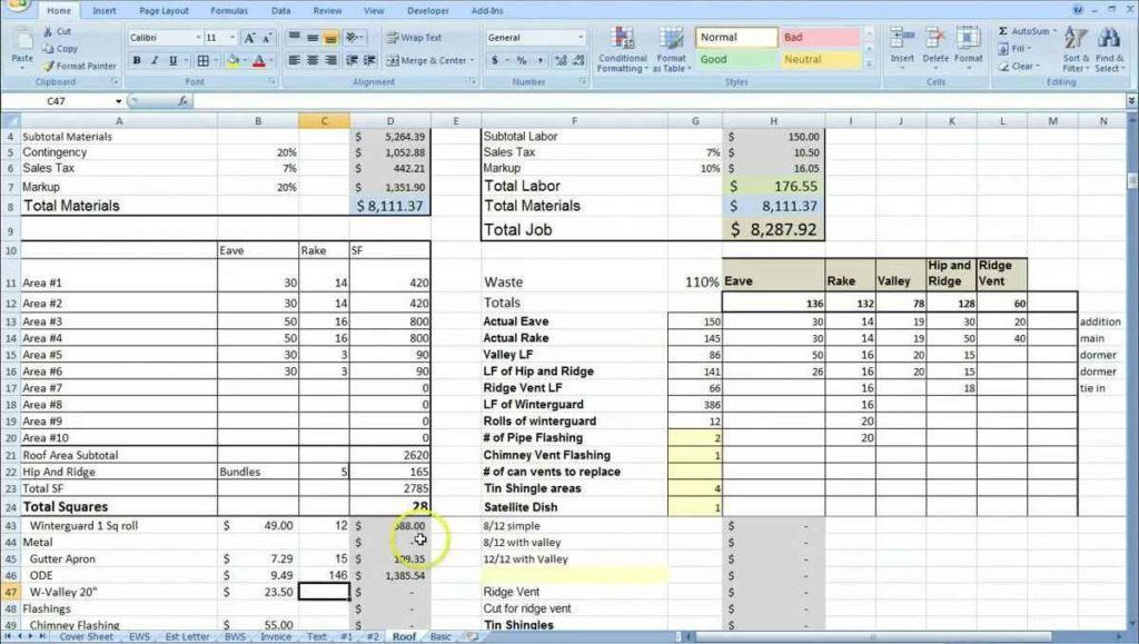 Construction Estimating Spreadsheet Template | HYNVYX