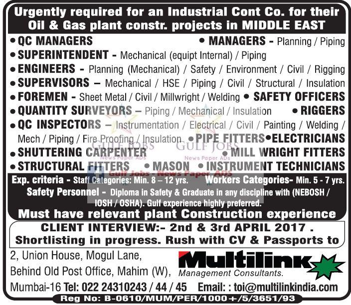 Gulf Jobs News Classifieds 2017-03-29 07:47:00 - JobsChip