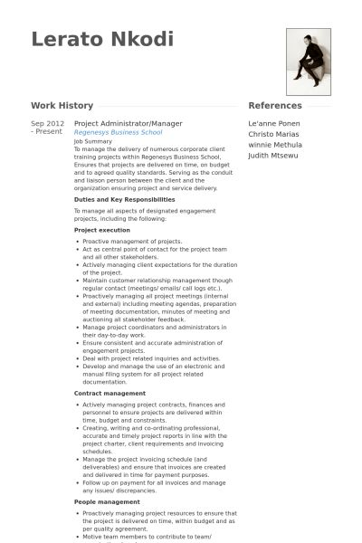 Project Administrator Resume samples - VisualCV resume samples ...