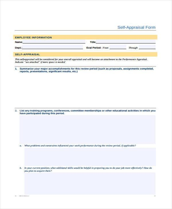 Appraisal Form Example. 14 Job Performance Evaluation Form Nursery ...