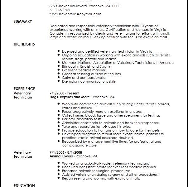 Veterinary Technician Resume - Resume CV Cover Letter