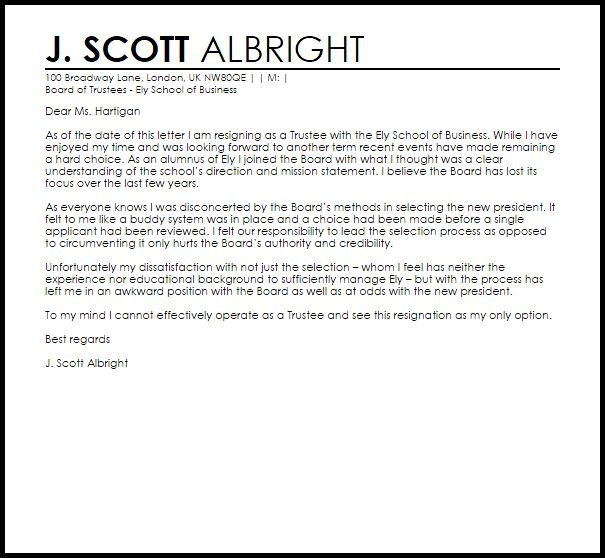 Resignation From Committee Letter