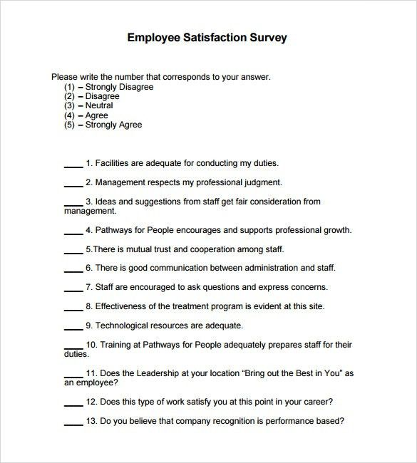 Sample Employee Satisfaction Survey – 5+ Example, Format