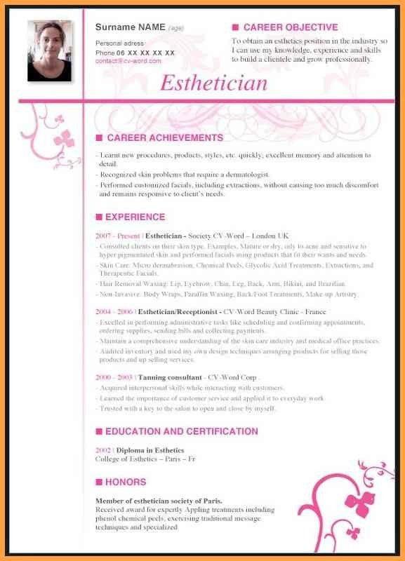 Newly graduated esthetician resume
