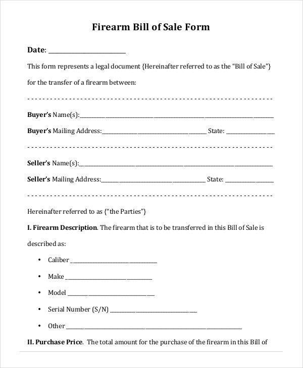 Printable Blank Bill of Sale Template - 9+ Free Word, PDF ...
