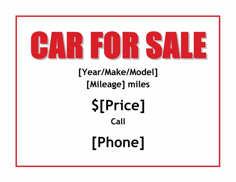 Car for Sale sign - Office Templates