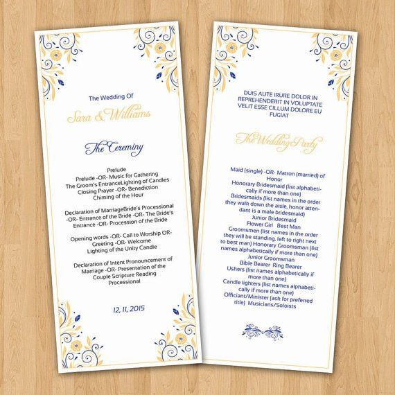 Wedding Program Template | Printable Ceremony Program Template ...