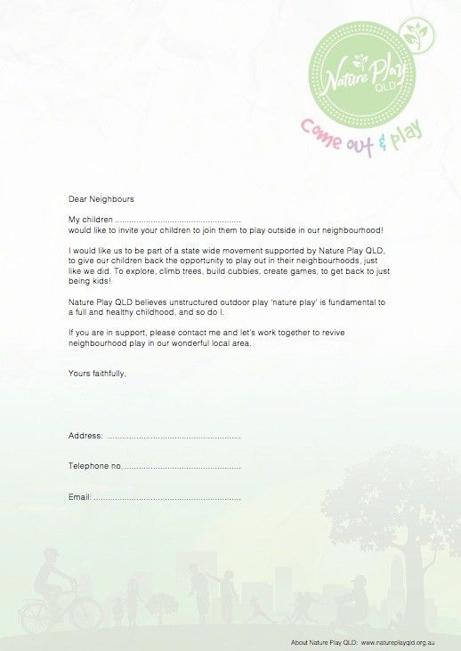Invitation letter - Invite your neighbours to play - Nature Play QLD