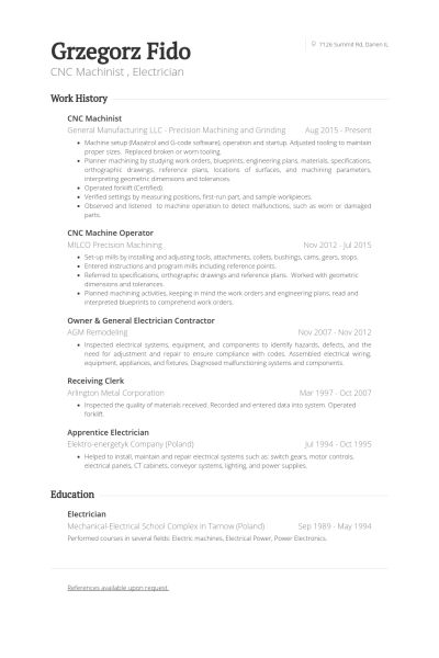 Cnc Machinist Resume samples - VisualCV resume samples database