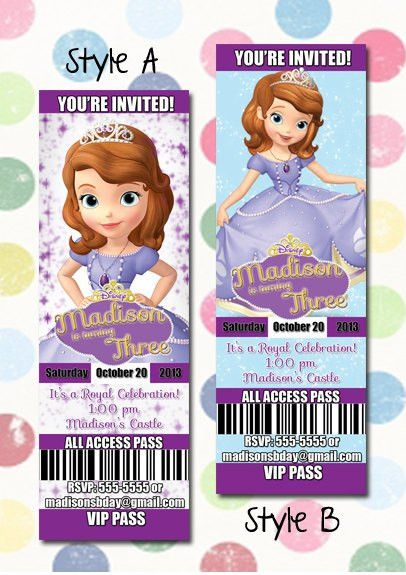 Sofia the first Birthday Party Invitation Ticket Style You