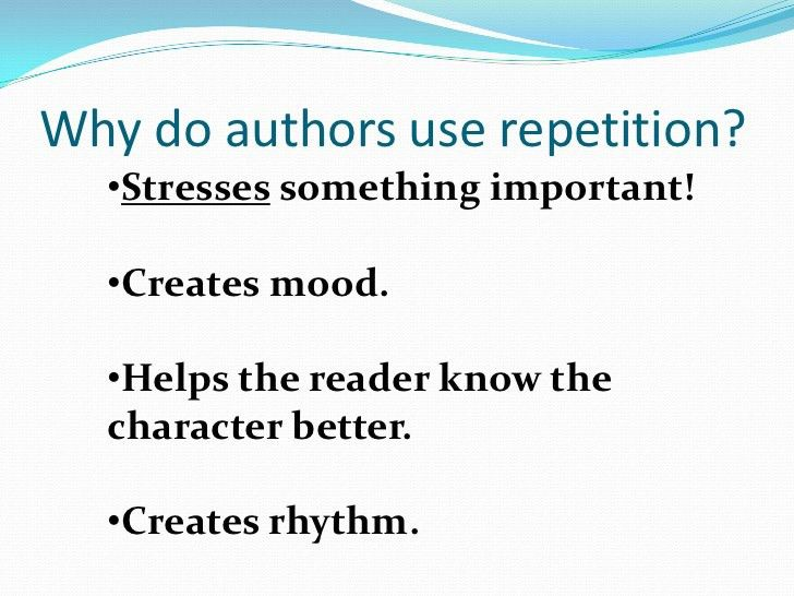 Repetition used in Literature