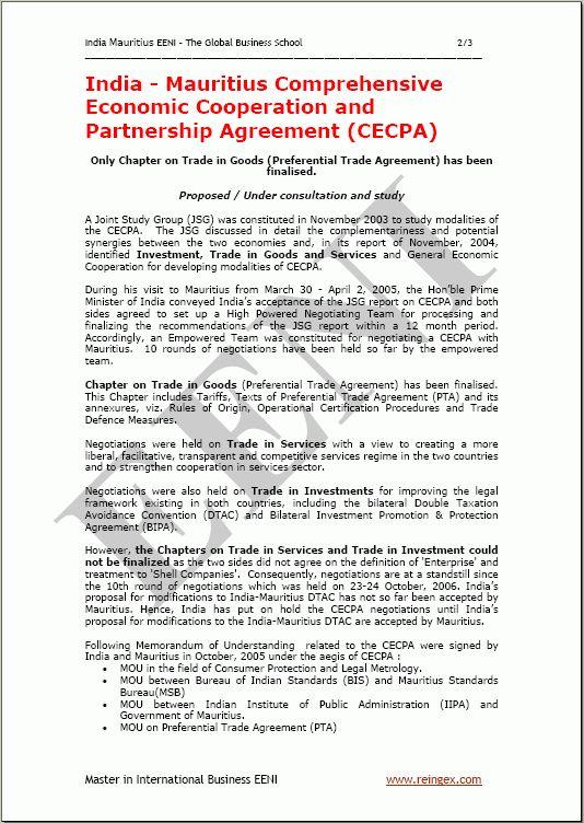 India-Mauritius Comprehensive Economic Cooperation