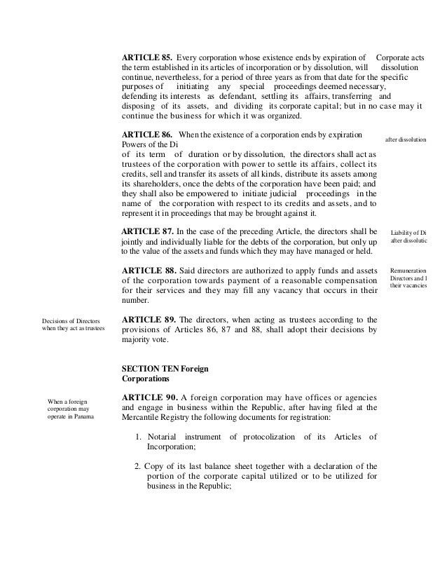 General Corporation Law Panama