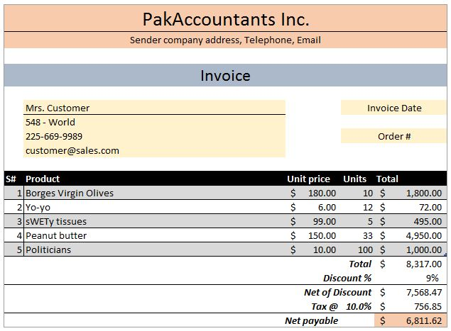 FREE Excel Invoice Template V1.0 with Customer and Product list ...