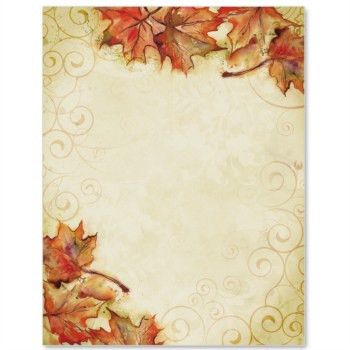 Microsoft Printable Thanksgiving Stationery | Fall Page Borders ...