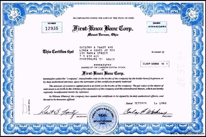 Printable Stock Certificate Template | TemplateZet