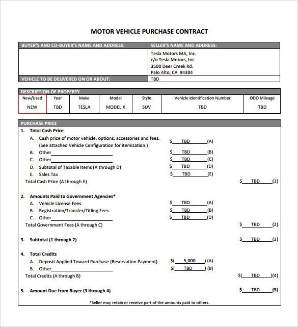 Car Purchase Agreement Templates - Word Excel Samples