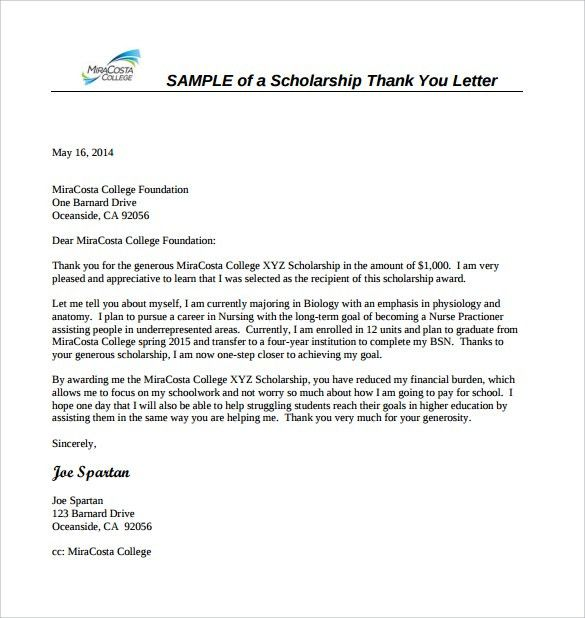 Sample Scholarship Thank You Letter - 11+ Documents in PDF, Word