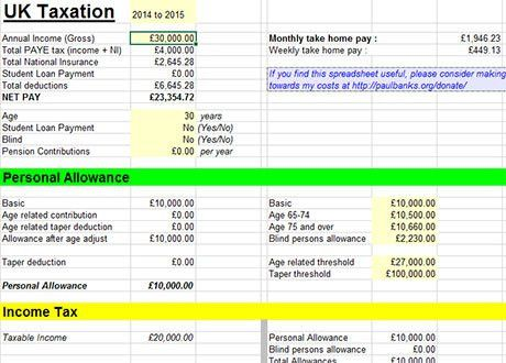 Free Tax Calculator Excel Templates 2014 - 2015