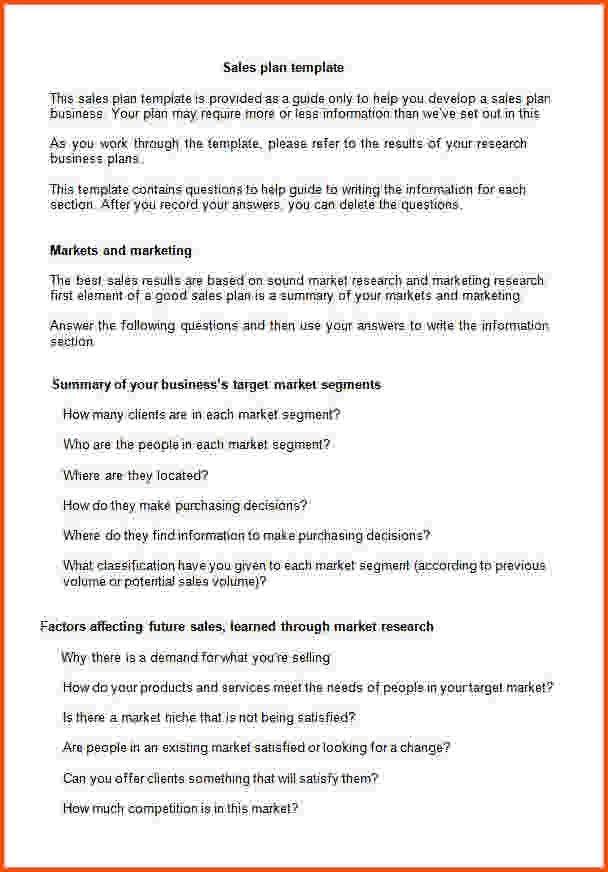 7+ sales plan template   Survey Template Words
