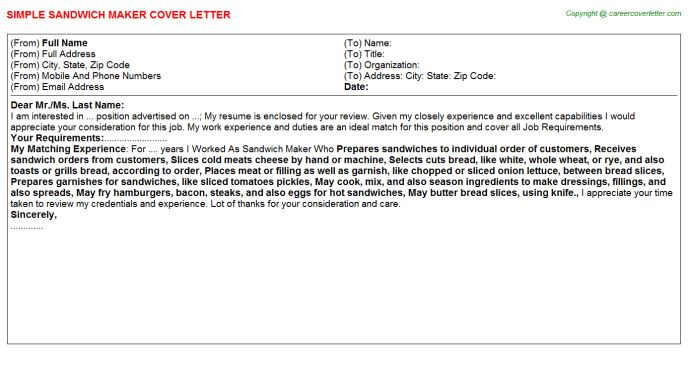 Sandwich Maker Cover Letters
