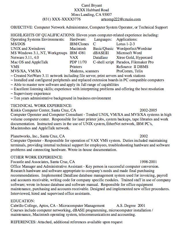 resume network administrator sample - RESUMEDOC
