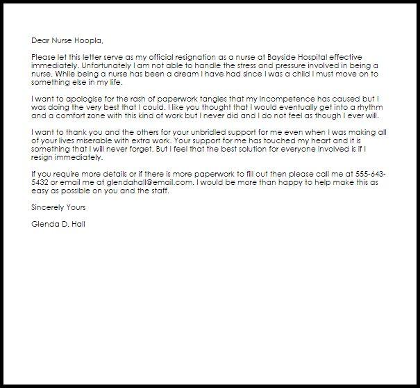 Nurse Resignation Letter | Resignation Letters | LiveCareer