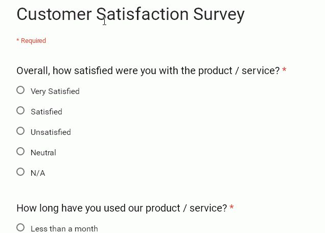 Google Form Template: Customer Satisfaction Survey   W3resource