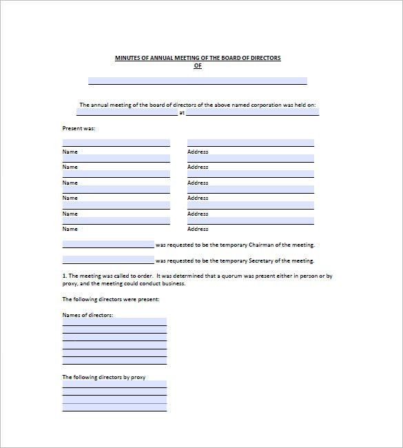 Board Meeting Minutes Templates – 11+ Free Word, Excel, PDF ...