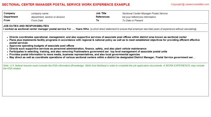 Postal Service Mail Sorter CV Work Experience Samples
