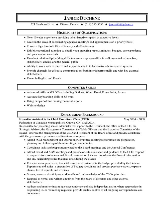 11 Executive Assistant Resume Format Resume summary of ...