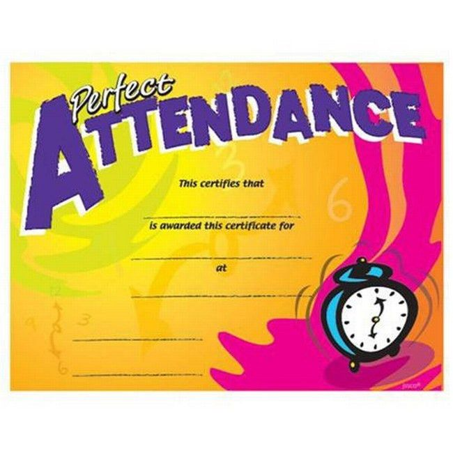 Perfect Attendance Certificate Award | Promos On-Time