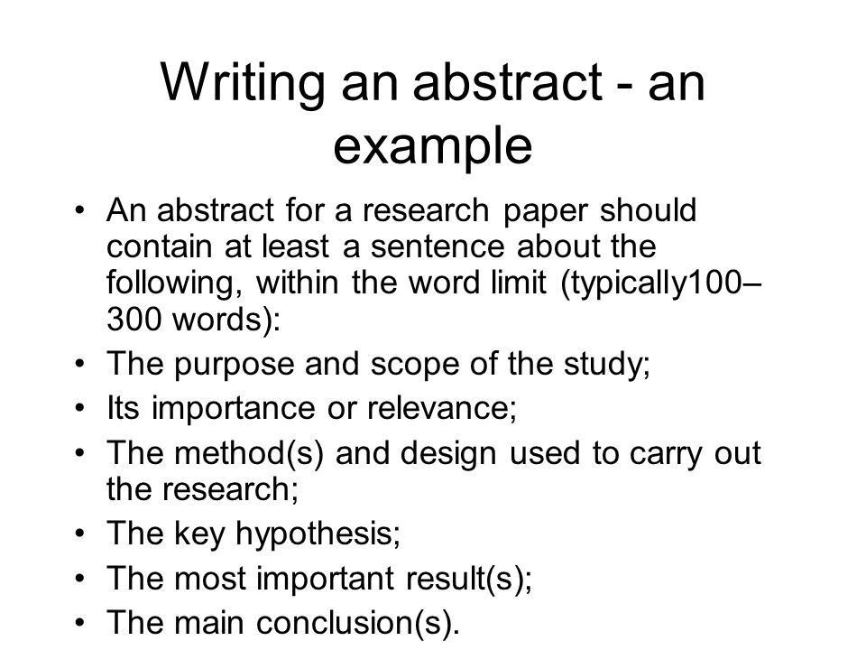 Writing An Abstract For Research Paper. Research Research Abstract ...