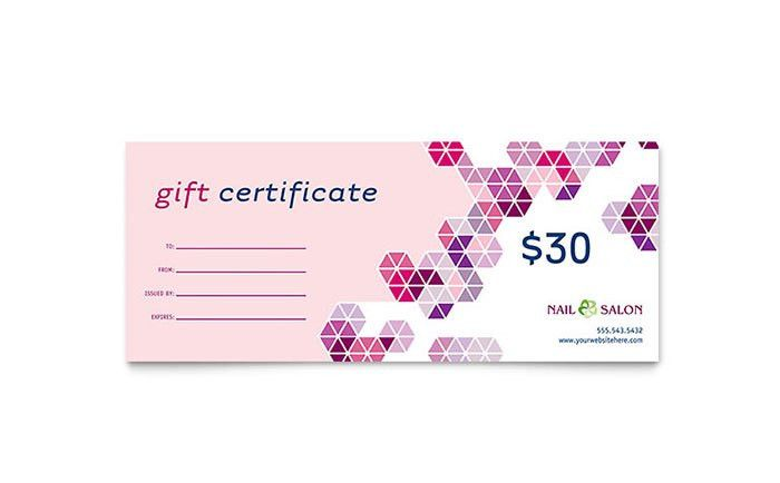 Nail Salon Gift Certificate Template - Word & Publisher