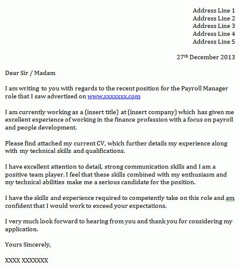 Payroll Manager Cover Letter Example - icover.org.uk