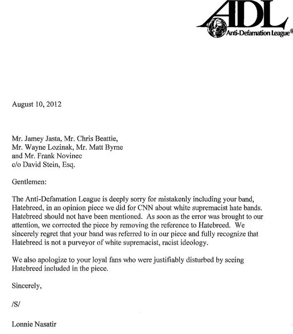 Anti-Defamation League sends letter of apology to Hatebreed ...