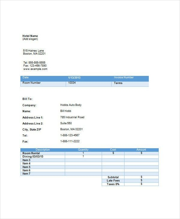 Hotel Invoices. Iphone Bill Format Homepage Freeware Download ...