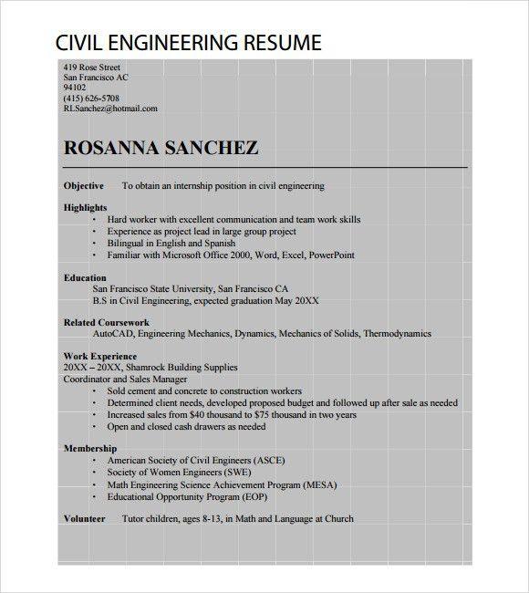 Sample Civil Engineer Resume - 6+ Free Samples , Examples , Format
