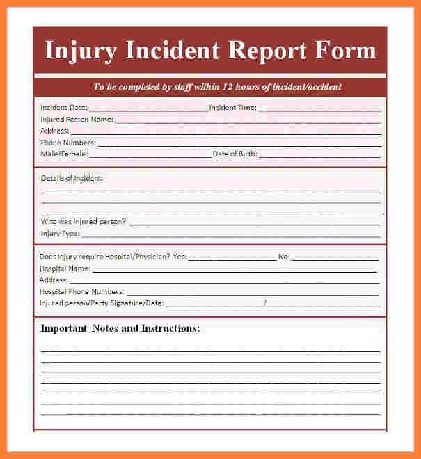 9+ incident and accident report form template | Progress Report