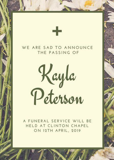 Olive and Cream Petal Photo Death Announcement - Templates by Canva