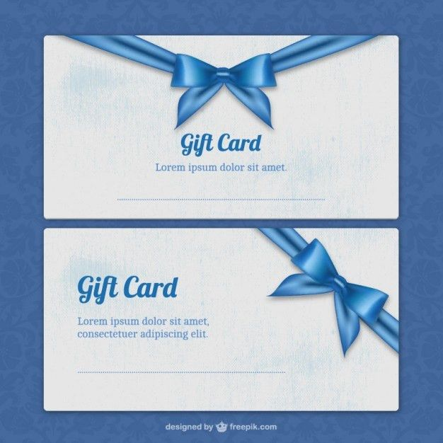 Gift card templates with blue ribbon Vector | Free Download
