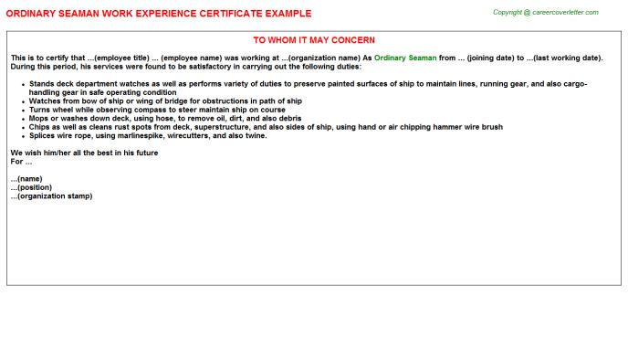 Ordinary Seaman Work Experience Certificate