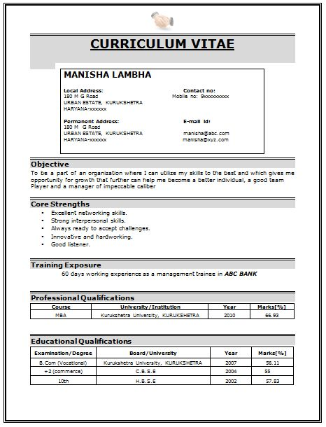 Professional Curriculum Vitae Sample Template of a Fresher MBA ...