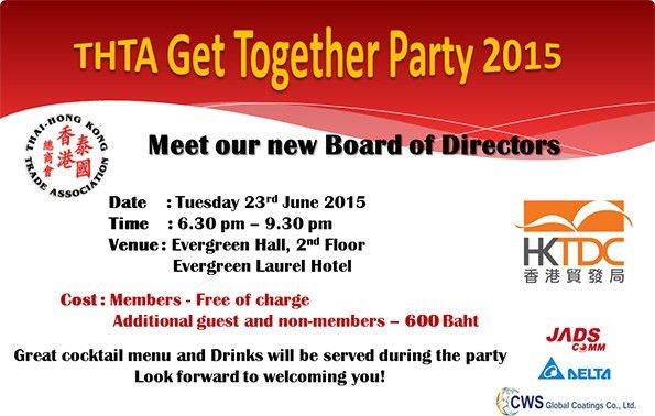 INVITATION TO THTA GET TOGETHER PARTY 2015 — Thai - Hong Kong ...