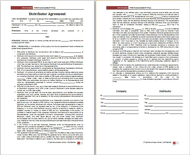 Distributor Agreement Template Free | Free Agreement Templates