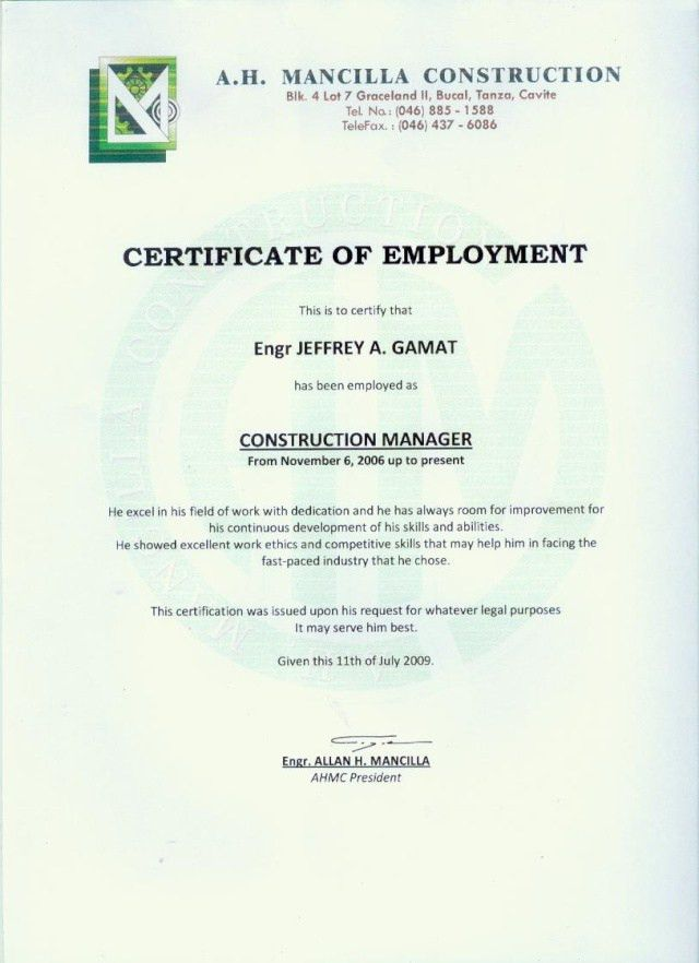 employment certificate template