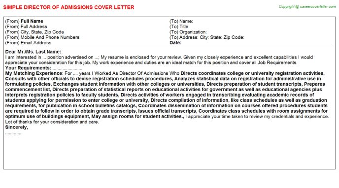 Director Of Admissions Cover Letter